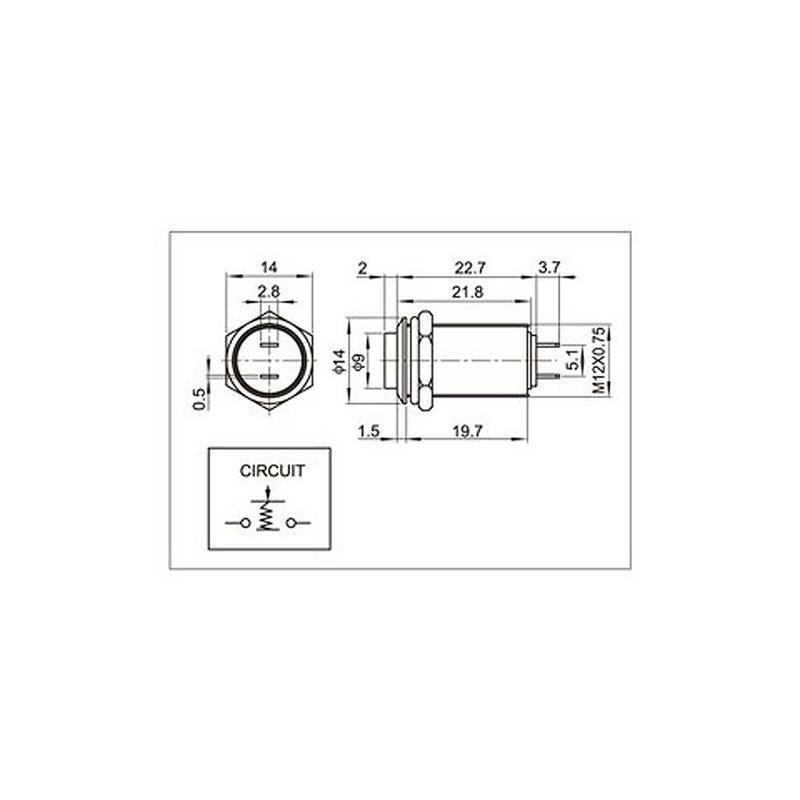 Pressure switch, metal switch 12x24mm (ØxL) | 36V/3A | IP67
