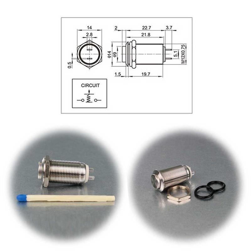 Metalltaster | 12/16/19mm | Schliesser | Edelstahl | IP67