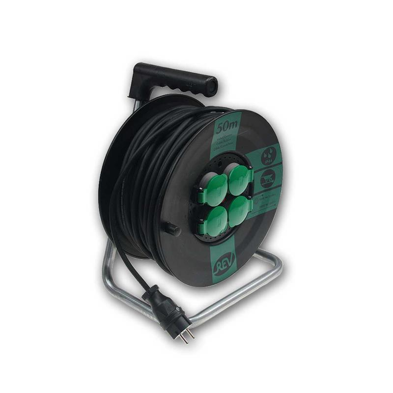Kabeltrommel mit 50m Kabel   4 Steckdosen, 3500W   IP44