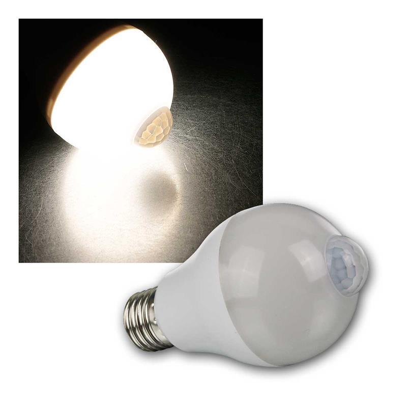led lampe e27 mit bewegungsmelder neutralwei 600lm 6w. Black Bedroom Furniture Sets. Home Design Ideas