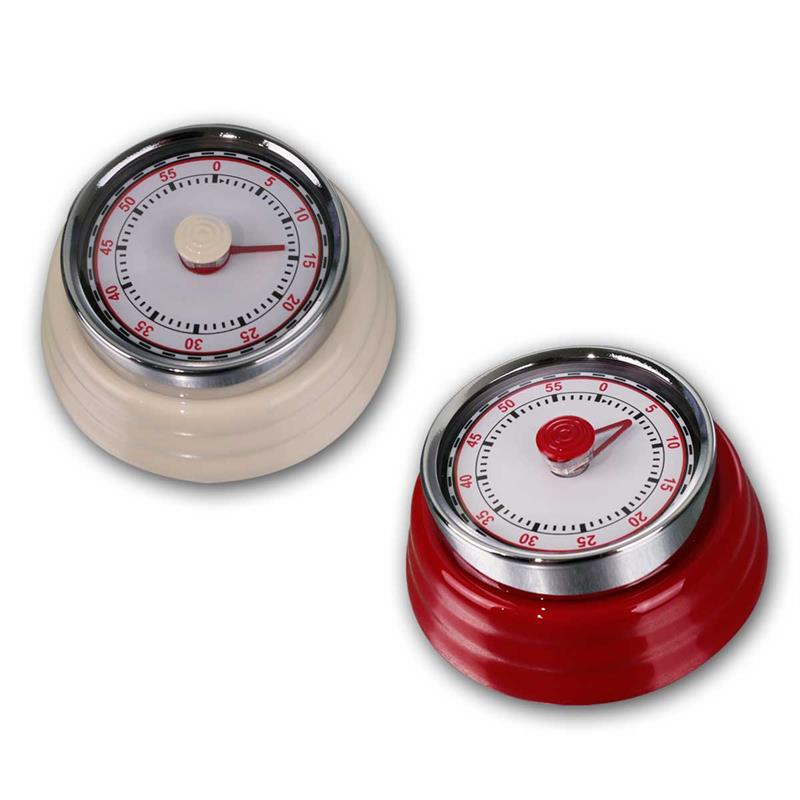 Kitchen timer RETRO | red/beige | magnetic, mechanical