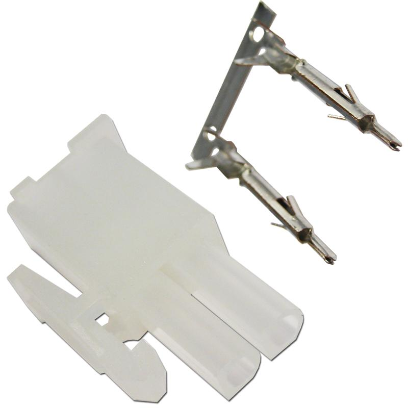 stecker 2 polig mit crimpkontakten steckverbinder. Black Bedroom Furniture Sets. Home Design Ideas