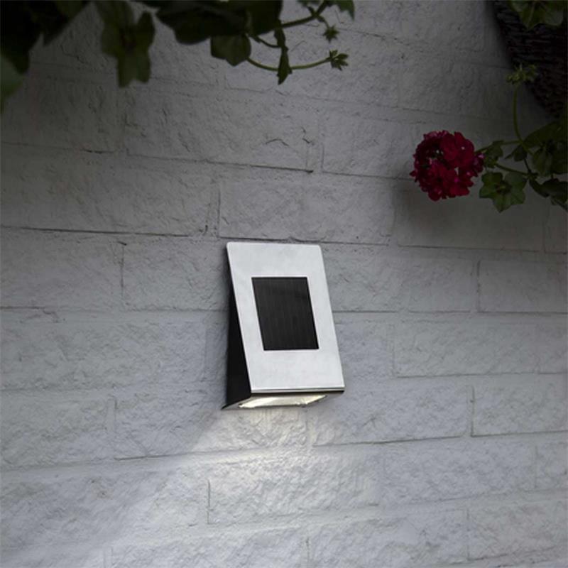 solar led wandleuchte wally ii f r au en edelstahl. Black Bedroom Furniture Sets. Home Design Ideas