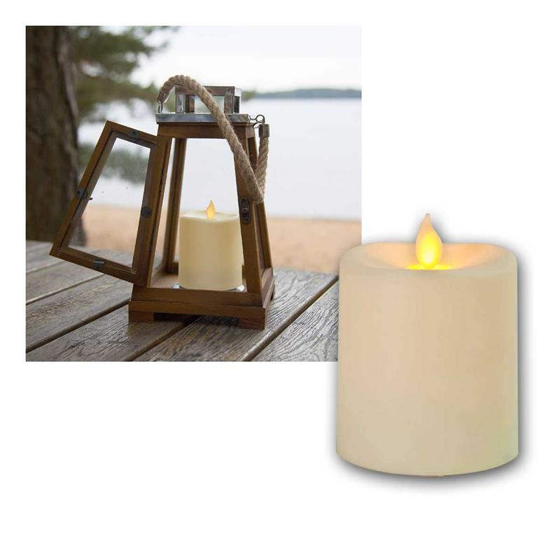 LED Candle Outdoor GLIM, beige | 8.5cm | timer, for outside