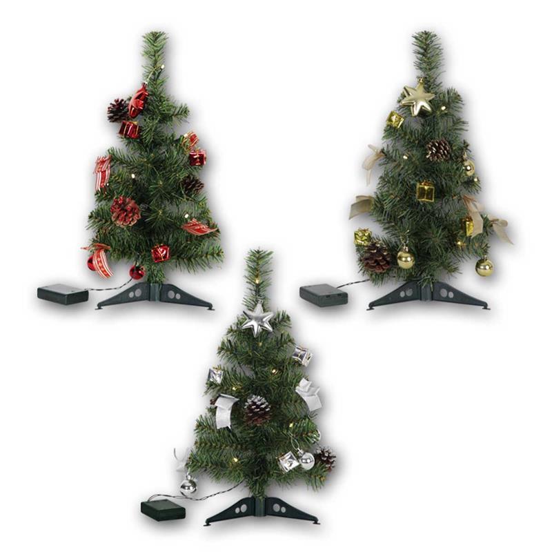 Weihnachtsdeko Rot Silber.Led Tannenbaum Decorage Batterie 45cm 3 Farben Innen