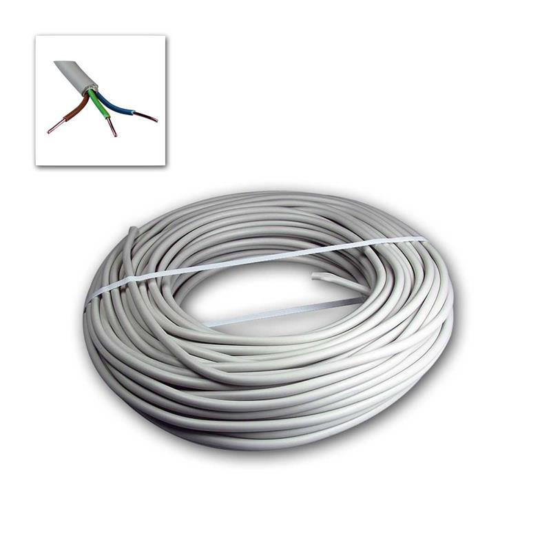 Power line NYM-J, 50m, 3-wire | insulated, gray Ø 8,2mm