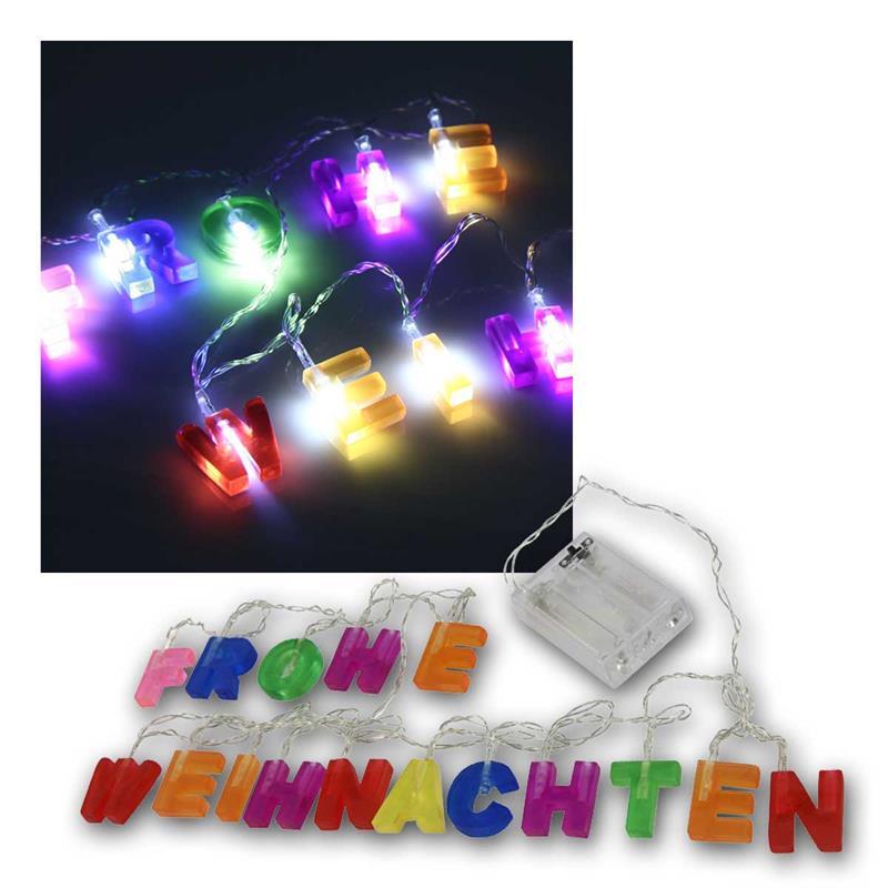 Led Frohe Weihnachten.Led Lichterkette Frohe Weihnachten Bunt 1 75m Batterie
