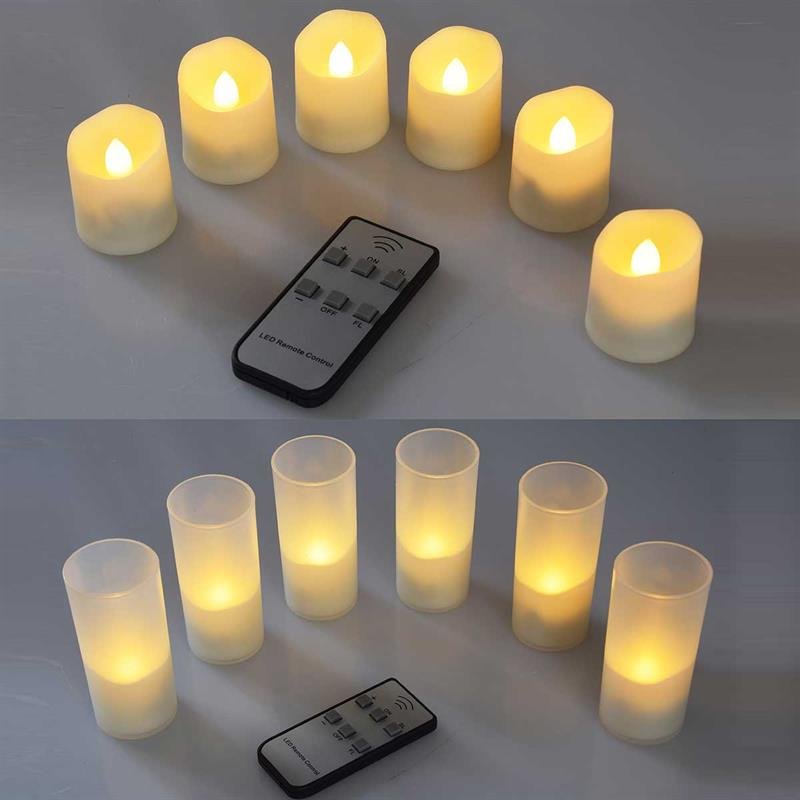 6 LED-candles | with IR-remote control and charging station