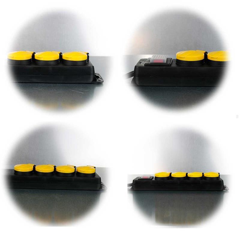 Turbo Steckdosenleiste 3-/4-fach | Mehrfachsteckdose für Außen VE12