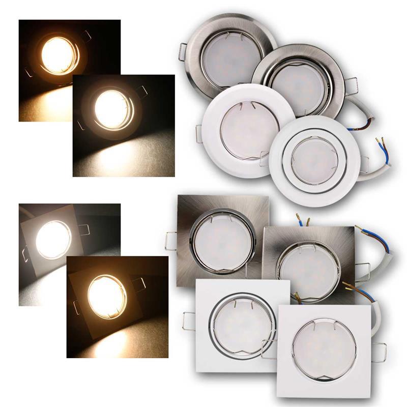 Einbauleuchten-Set 3W oder 5W LED 230V Spots rund oder eckig