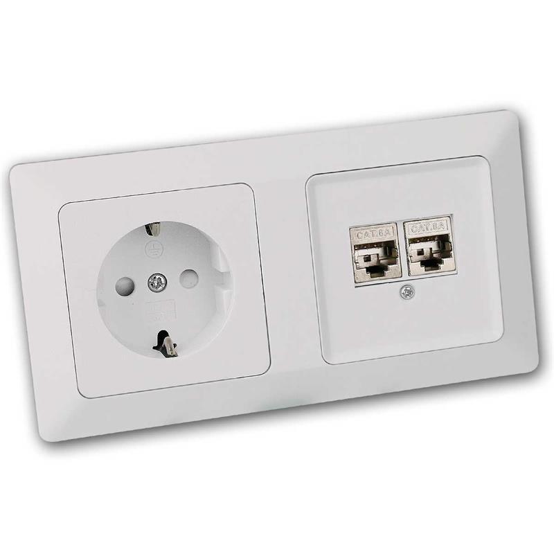 MILOS socket and network socket | 2x CAT6 | flush with frame