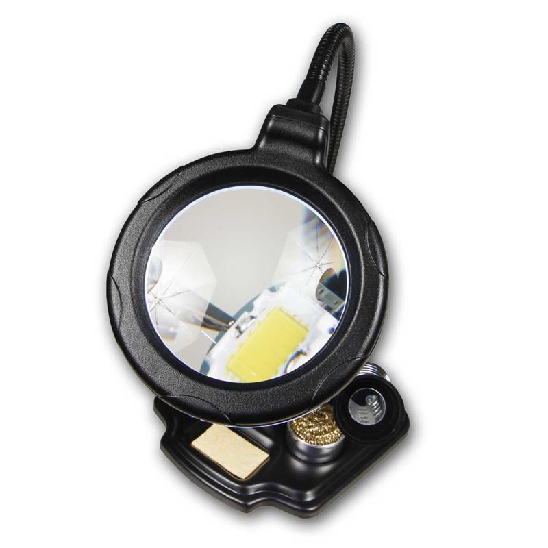 HELFENDE HAND mcpower Lupe 3 dritte helfende Löthilfe Halter löten LED Licht