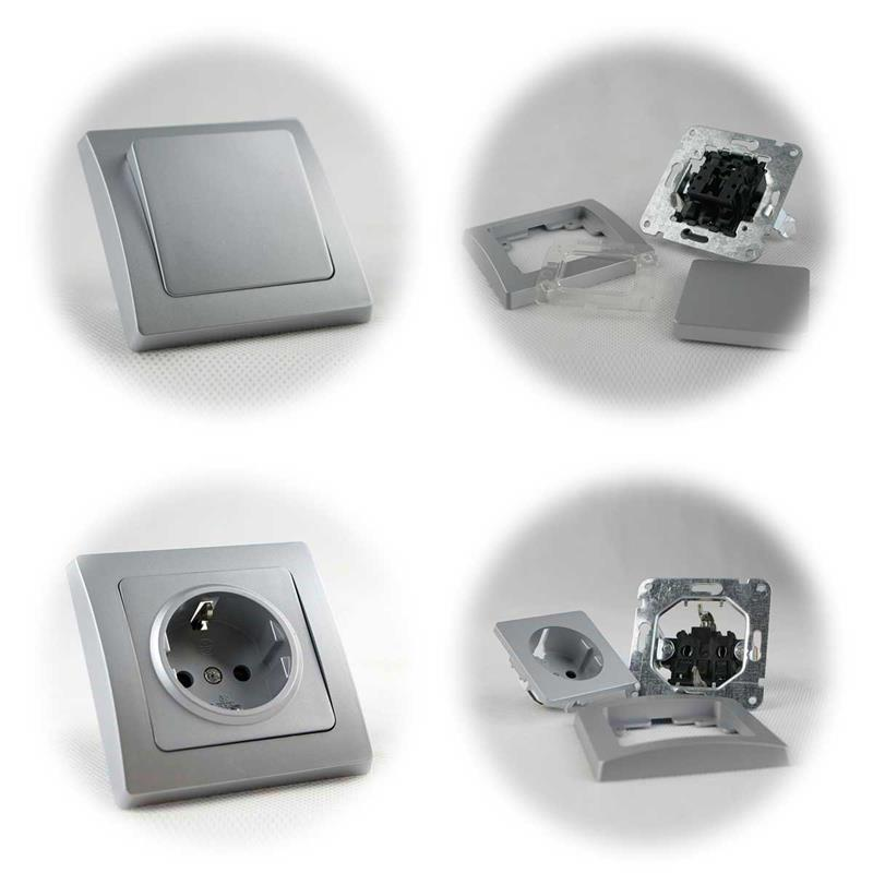 DELPHI sets door | switch, socket, dimmer | silver, UP