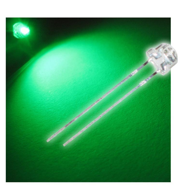 """10 LED 4,8mm grün Flachkopf Typ """"WTN-48-2200gr"""""""