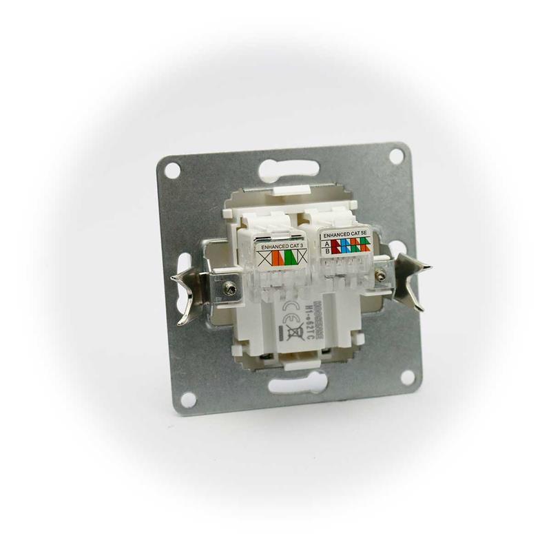 CUP Netzwerkdose RJ45/RJ11, für ISDN, weiß | ohne Rahmen, UP