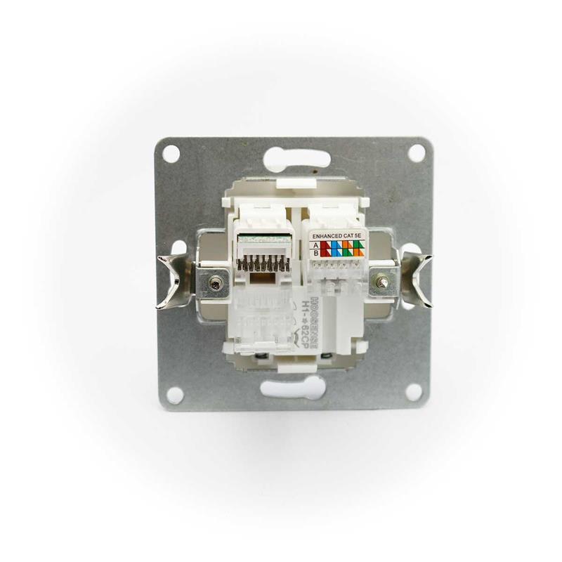 CUP Netzwerkdose 2x RJ45, weiß   ohne Rahmen, UP