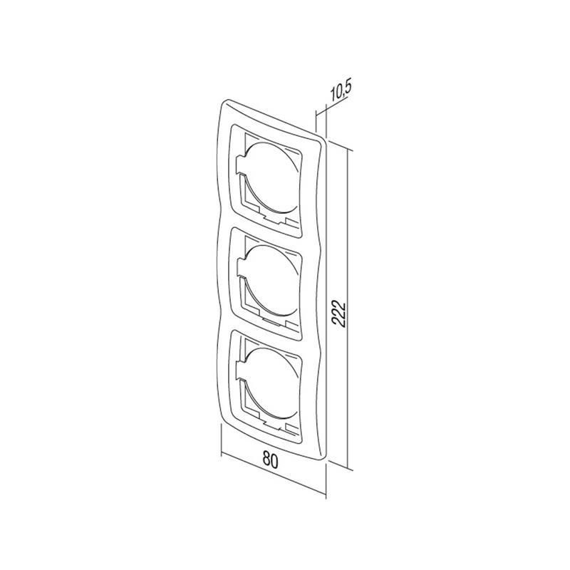 EKONOMIK Set Tür 3-fach | anthrazit, Schalter & Steckdose