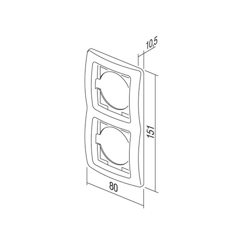 EKONOMIK Set Tür 2-fach Kontroll | anthrazit | mit Steckdose