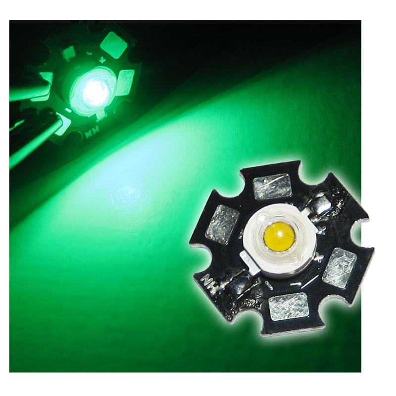 1 high power LED 1W green on PCB