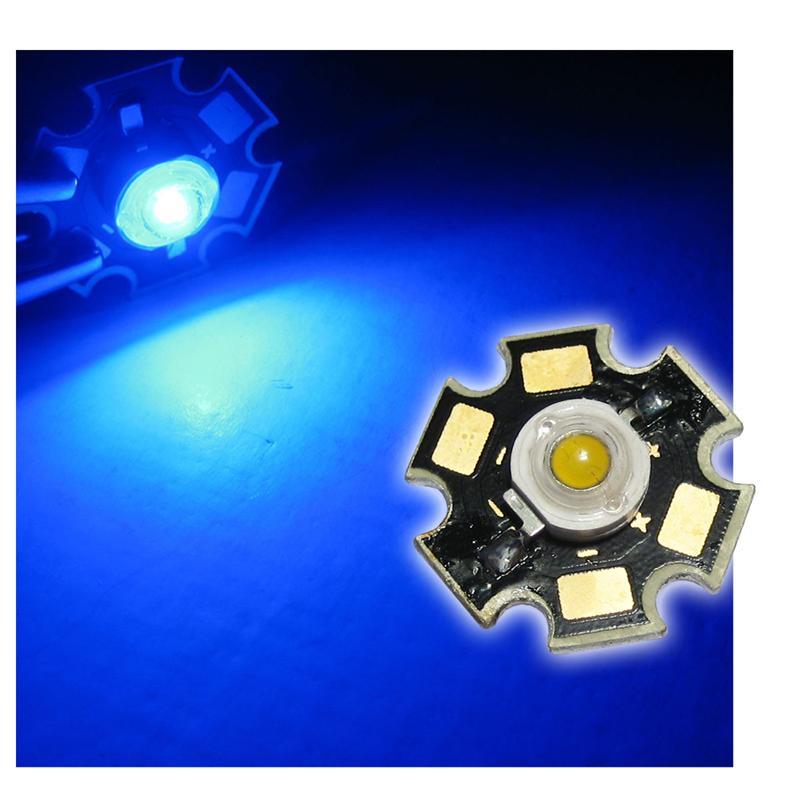 1 high power LED 3W, blue, on PCB