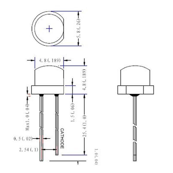 Abmessungen der 4,8mm LED mit Flachkopf-Gehäuse
