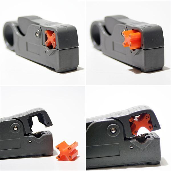 Entmantler mit in vier Positionen einstellbaren Kabelhaltereinsatz