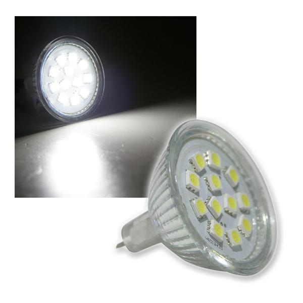 LED-Strahler MR16 12x 5050 SMD LEDs kalt weiß