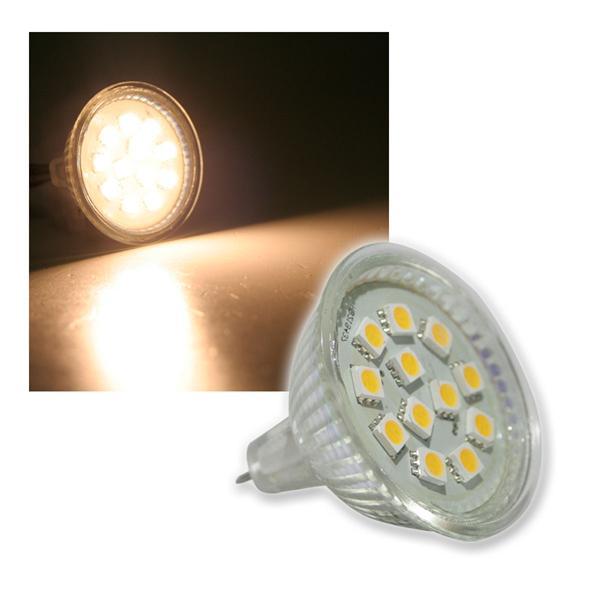 LED-Strahler MR16 12x 5050 SMD LEDs warm weiß