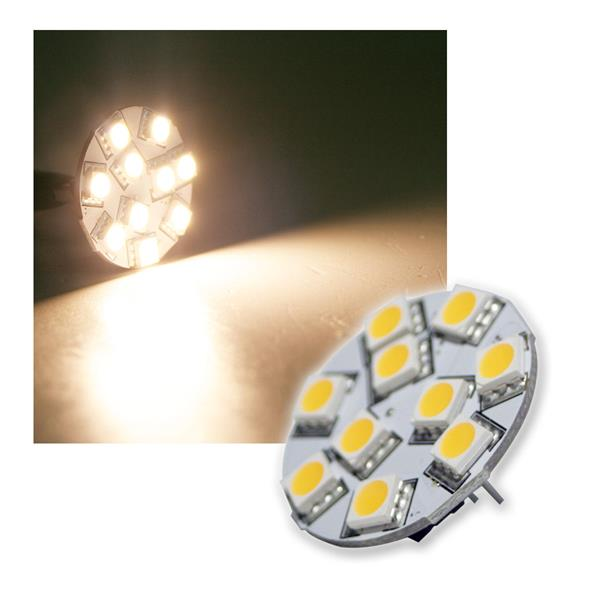 LED-Lampe G4 10x5050 SMD LEDs horizontal warm weiß