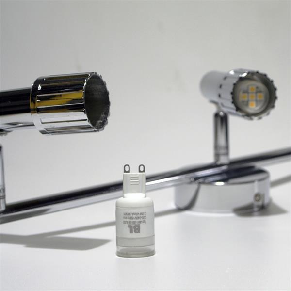 LED Strahler aus poliertem Chrom und G9 LED Leuchtmittel