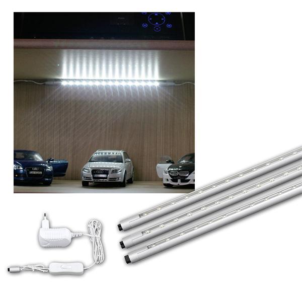 LED Schiene RUND-Set, 3x30cm, 45x LEDs kaltweiß