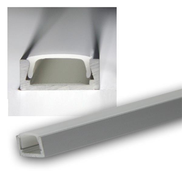 "1m LED Aluminium-Profil ""PL MINI"", eloxiert, OPAL"