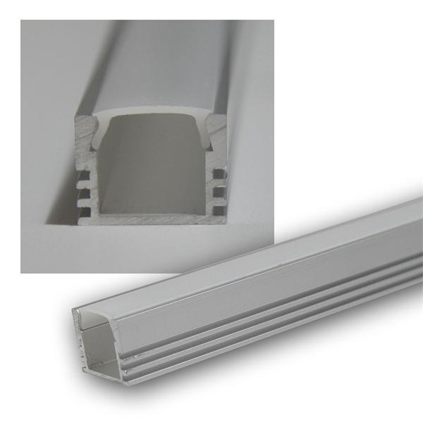 """1m LED Aluminium-Profil """"PL-U Std"""", eloxiert, OPAL"""