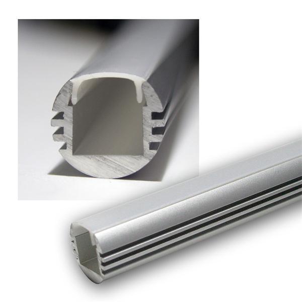 "1m LED Aluminium-Profil ""PL-Oval"", eloxiert, OPAL"
