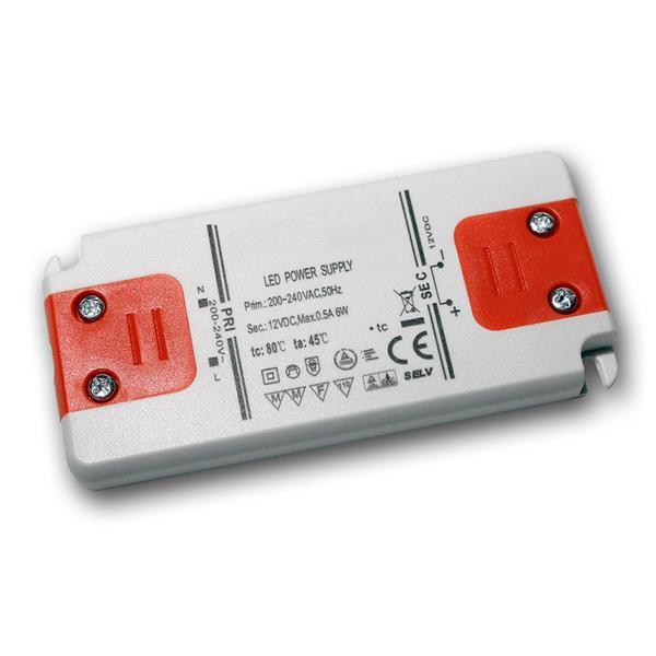 LED Slim-Transformator 12V DC, 0-6W, IP20, Trafo