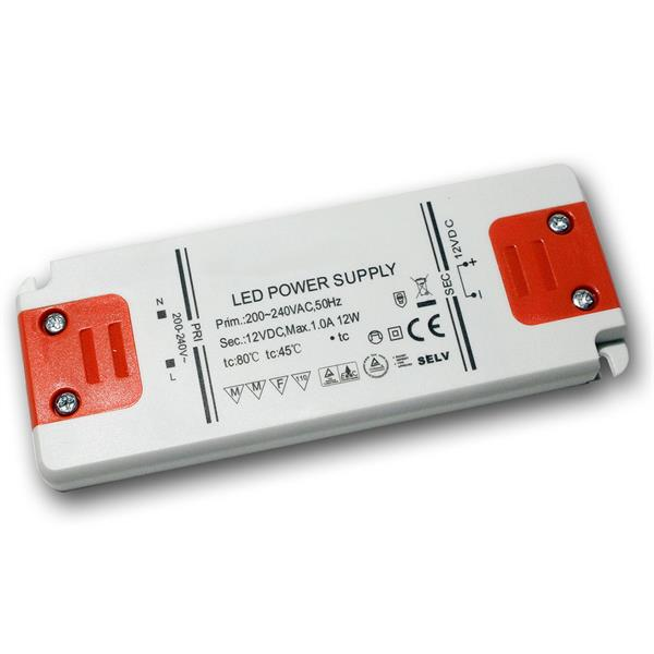 LED Slim-Transformator 12V DC, 0-12W, IP20, Trafo