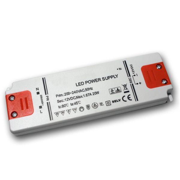 LED Slim-Transformator 12V DC 0,5-20W, IP20, Trafo