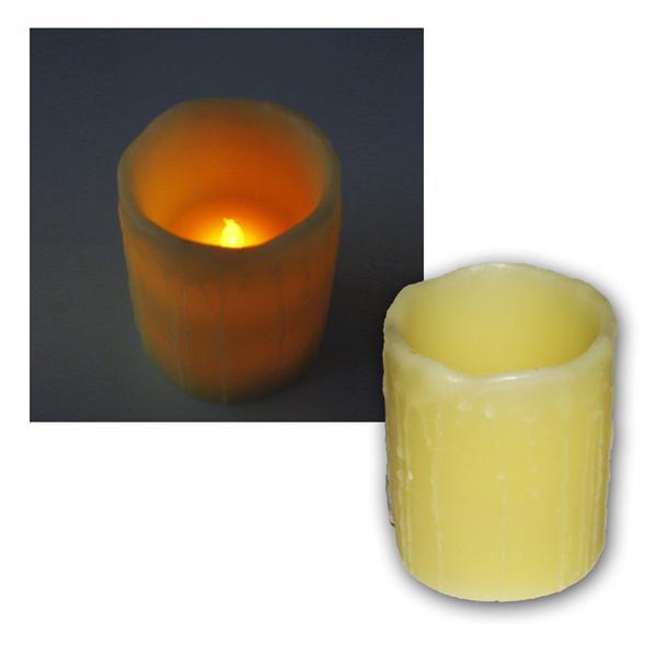 LED Echtwachs-Kerze mit Pustfunktion - Größe 10cm
