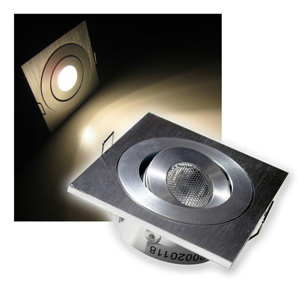 LED-Einbaustrahler Aluminium eckig warm weiß 12V