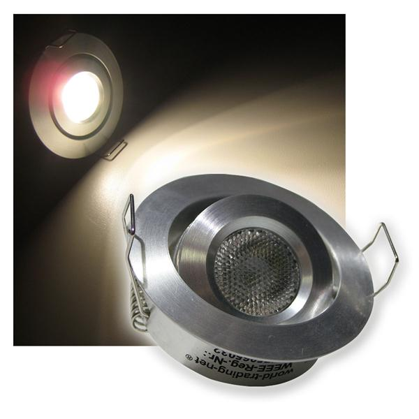 LED-Einbaustrahler Aluminium rund warm weiß 12V 3W