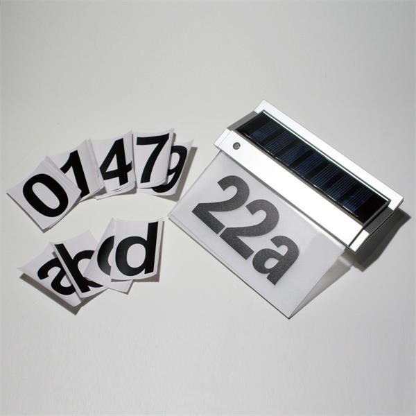 LED Solarleuchte inklusive 3 Zahlen- und einem Buchstabensatz(0-9,a-e)