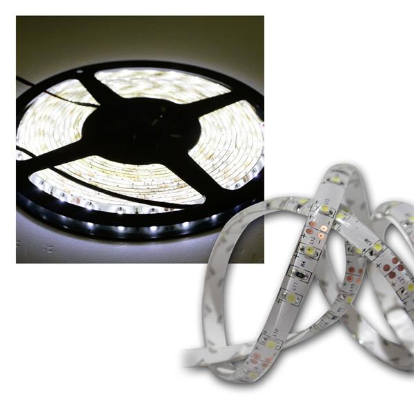 LED Lichtband 5m kalt-weiß IP44 12V DC PCB-weiß