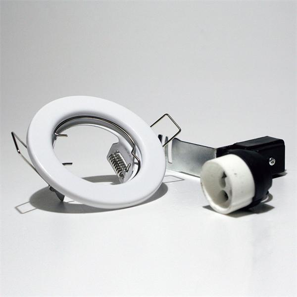 weißer Deckeneinbaurahmen mit Keramik-Halogen-Lampenfassung