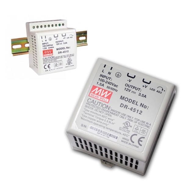 12V Transformator für DIN-Schiene, max.42W/ 0-3,5A