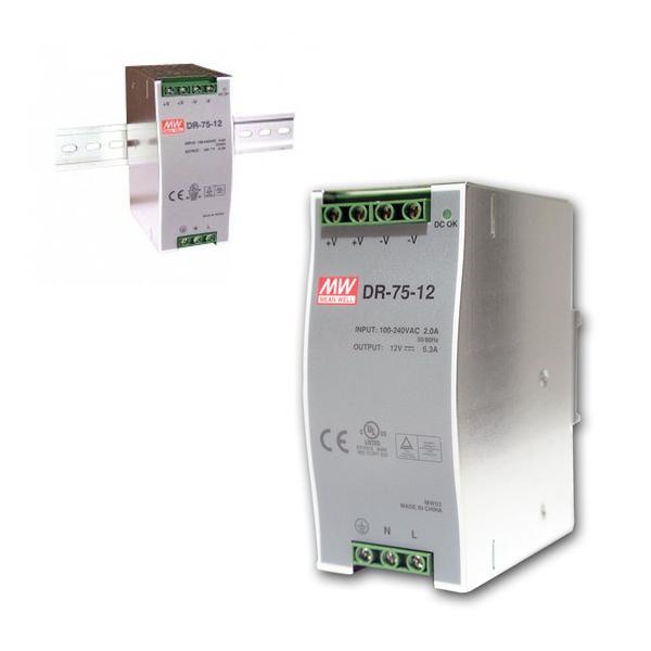 12V Transformator für DIN-Schiene, max.75W/ 0-6,3A