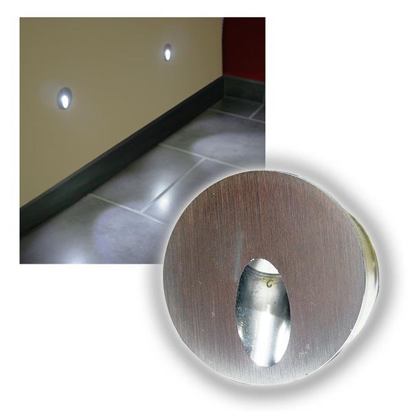 Alu Wandeinbau-Strahler 1W LED kalt weiß Ø50mm 12V