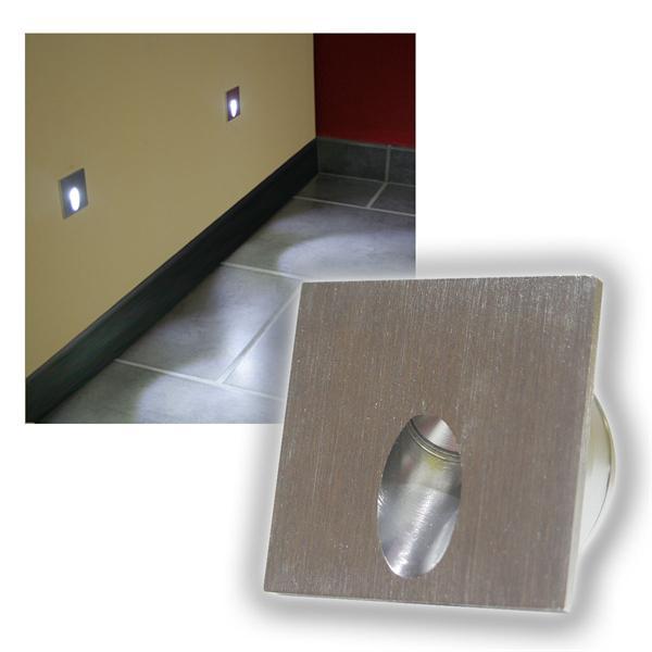 Alu Wandeinbau-Strahler 50x50mm 1W LED kalt weiß