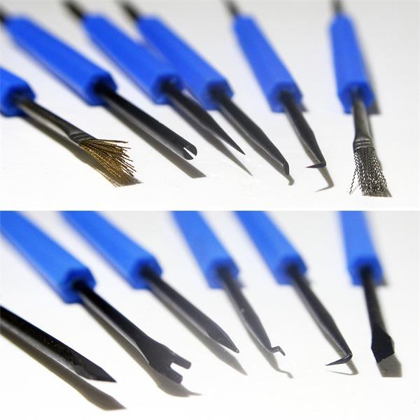 Lötarbeits-Besteck mit Bürste, Kratzer, Messer, Haken, Gabel und Dorn