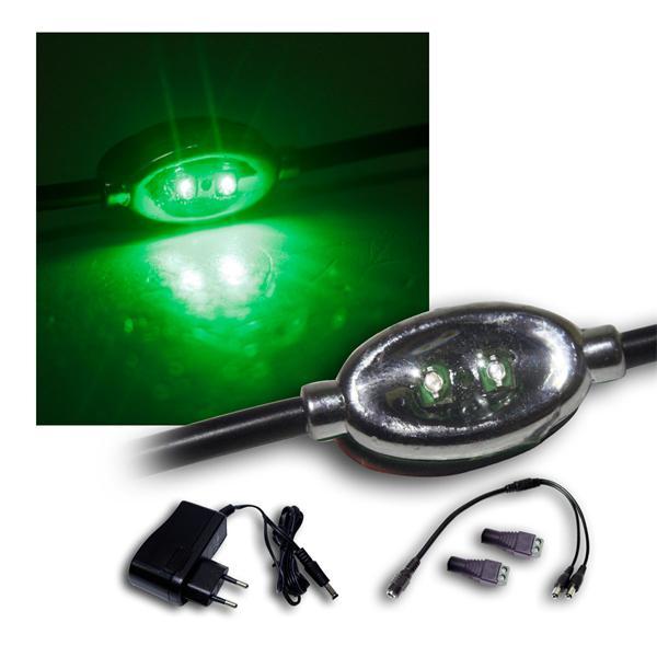 Set 2x10er LED Modulkette je 2 SMDs grün +Netzteil