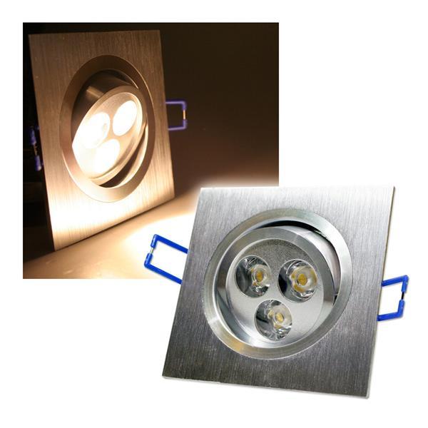 Alu LED-Einbauleuchte eckig 3x2W warm weiß 230V